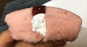 あまおう苺蒸しケーキ断面