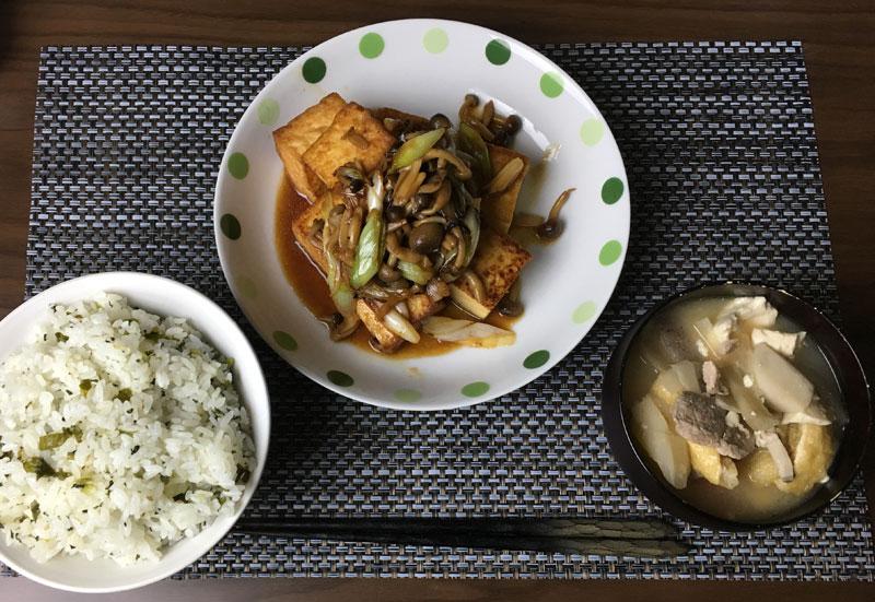 今日のボッチ飯 長ネギ豆腐 わかめご飯 豚汁